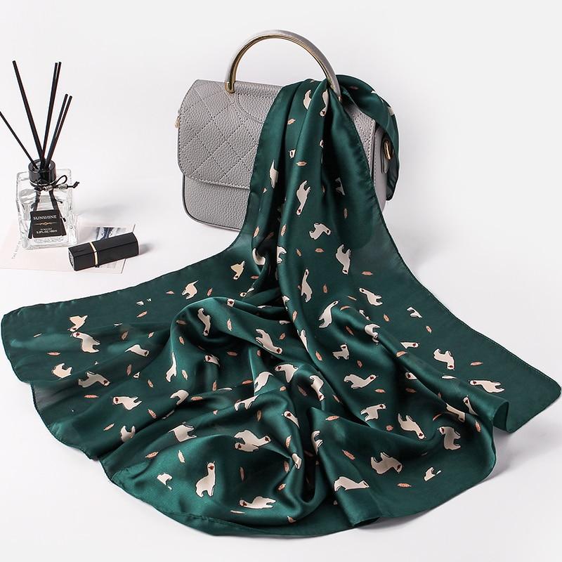 Fashion Women   Scarf   Luxury Brand Cute Print Hijab Pure Silk Shawl Scarfs Foulard Square Head   Scarves     Wraps   2017 NEW