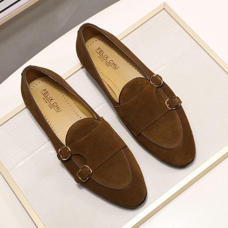 Модные дизайнерские Замшевые мужские лоферы; цвет черный, коричневый, зеленый; повседневные модельные туфли для свадебной вечеринки; мужские туфли с ремешком; размеры 39 46 - 4