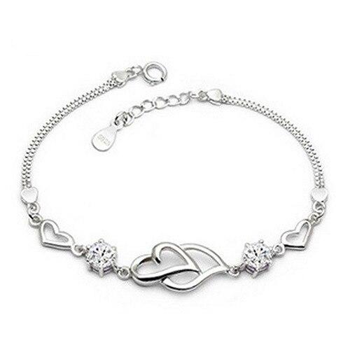 Double Love Heart Soulmate Bracelets Femme Silver Plated Clear Crystal Chain Bracelet For Women Bijouterie Pulseira De Prata In Link From