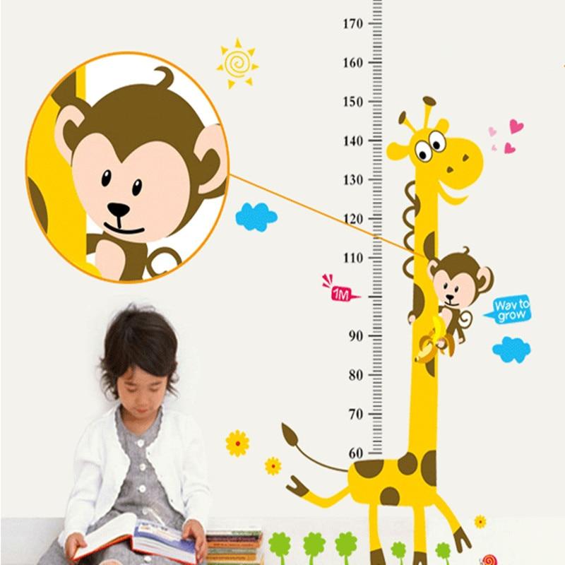 Fëmijët Lartësia Grafike Sticker Dekor Cartoon Giraffe Heil Ruler - Dekor në shtëpi - Foto 3