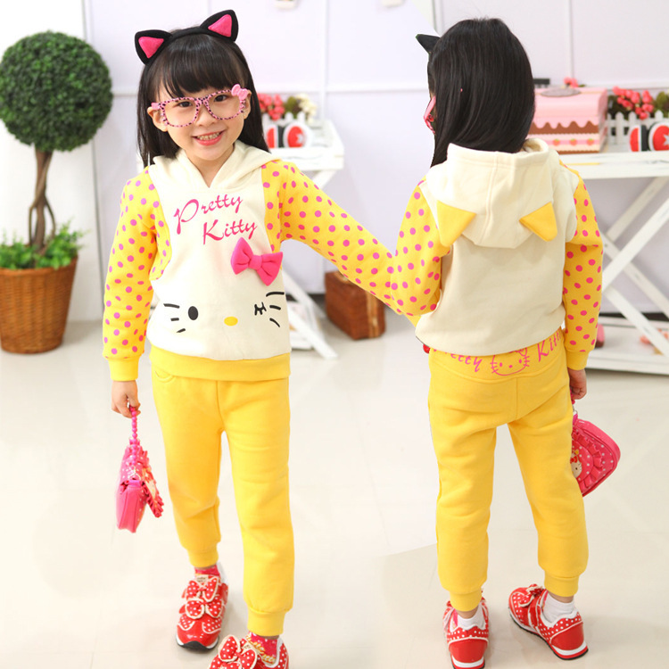 1PCChildren with girls during the spring and autumn suit cartoon cat m baby clothes girls cotton leisure suit free shipping купить