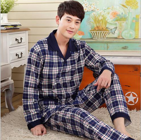 Spring autumn new foreign trade longt-sleeved pajamas men casual cardigan knit pajamas Pyjamas Set 097