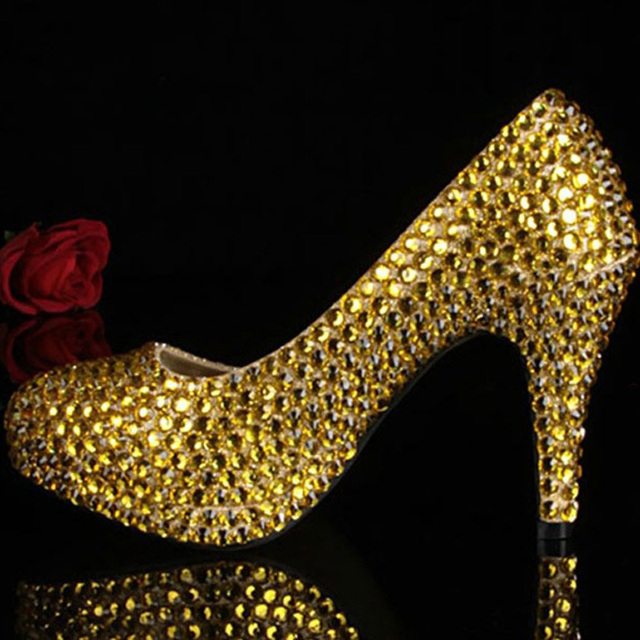 51c41d0d51c Sexy Gold Color Party Shoes with Rhinestones Women Wedding Dress Shoes for Bridal  Women High Heels Pumps Girls Dress Shoes