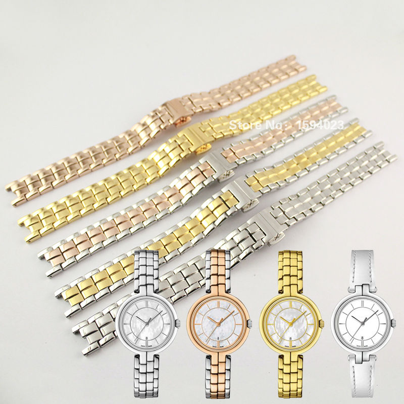 12mm T094210A New Watch Parts woman Solid Stainless steel bracelet strap Watch Bands For T094
