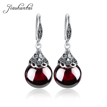 JIASHUNTAI Retro 100% 925 Sterling Silver Round Garnet Drop Earrings For Women Natural Red Gemstone Ruby Fine Jewelry Best Gifts