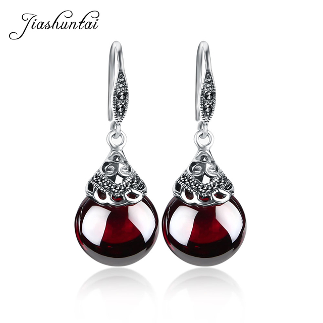 JIASHUNTAI Retro 100% 925 Sterling Silver Round Garnet Drop Earrings For Women Natural Red Gemstone Ruby Fine Jewelry Best Gifts 1