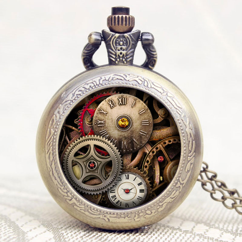 2017 New Arrive Antique Design Gear Pocket Watch Steampunk Quartz Watches Men Women Pendant Necklace Exquisite Birthday Gift