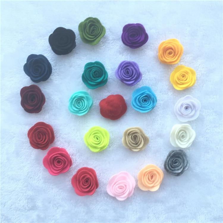 NEW 1.8inch Fashion Non-woven Fabrics Felt Rose Flower Diy For Hair Accessories Headband Ornaments 10pcs