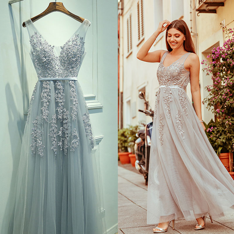 Robe De Soiree Ever Pretty Lace Beading Sexy Backless Long   Prom     Dresses   Bride Banquet Elegant Appliques Party   Prom     Dresses