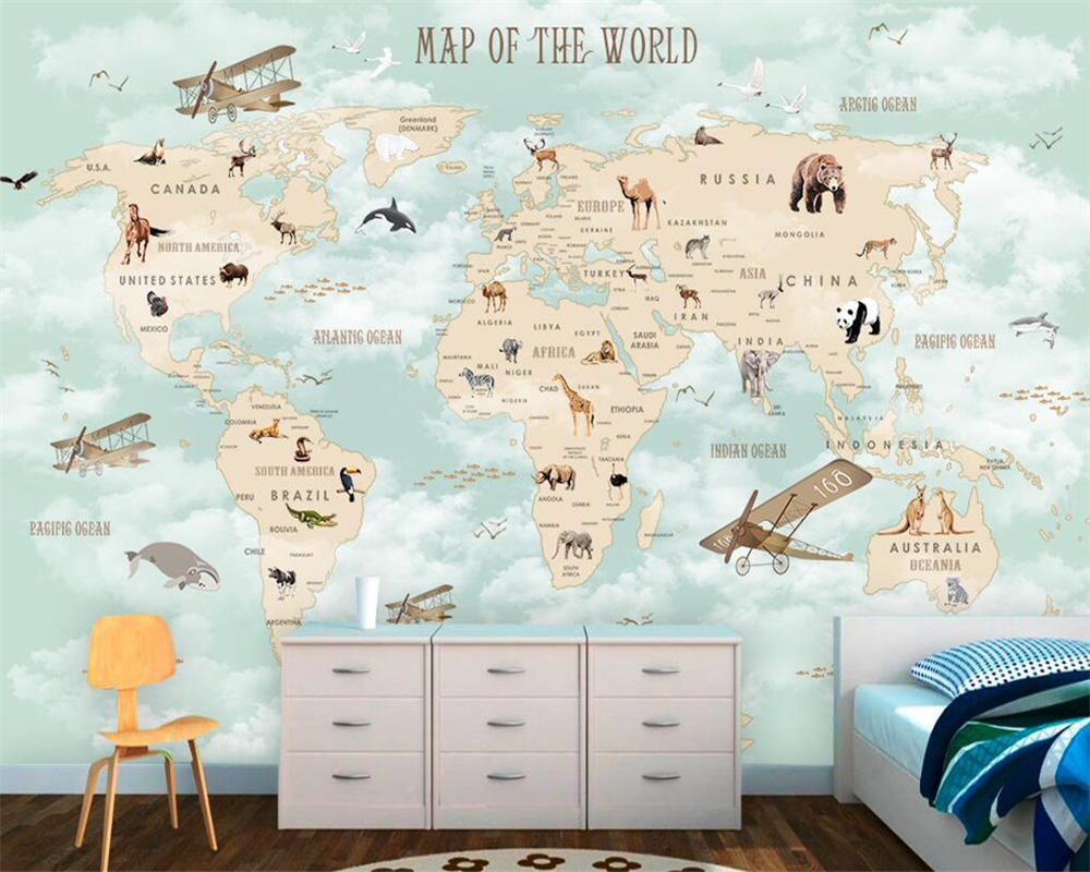 Beibehang Custom Children Room Wall 3d Wallpaper Cartoon Airplane Sailing Animals World Map Background Wall 3d wallpaper tapety world map wall sticker