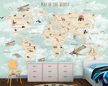 Beibehang Custom Children Room Wall 3d Wallpaper Cartoon Airplane Sailing Animals World Map Background wallpaper tapety
