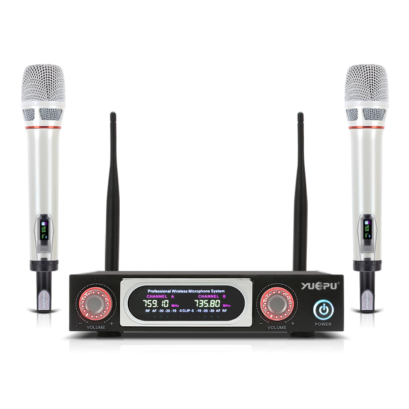 YUEPU RU-M1000 Professional Microphone Wireless System UHF Cordless Dual Mic 2 Channel for Stage Church Speech Performance opera 4 x 100 channel ture true diversity whole metal cordless microphone system uhf wireless stage microphone system 4 mic