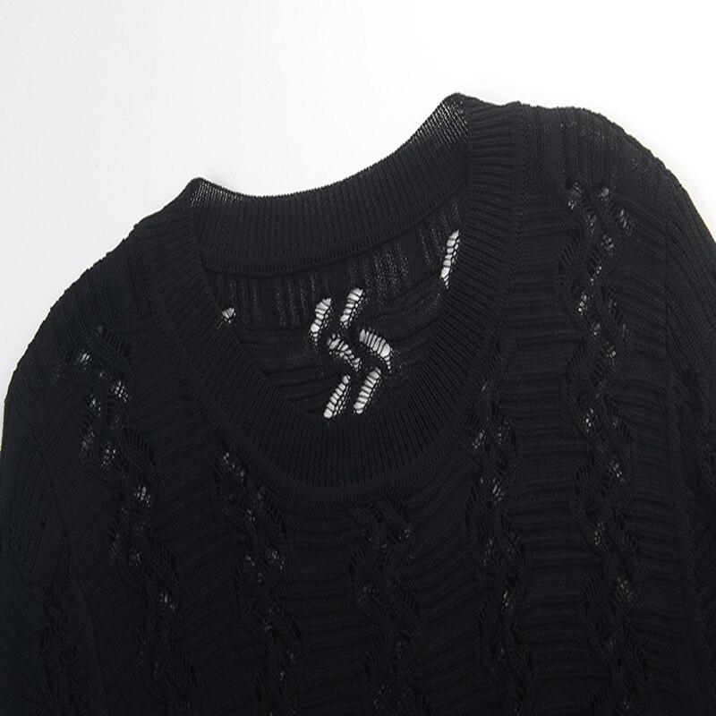 Piste Robe En Évider À 2019 Nouveau Conception Mince Pour Tricot Femme Élégant Trou Pulls Sruilee Volants Black Printemps VUMzpS