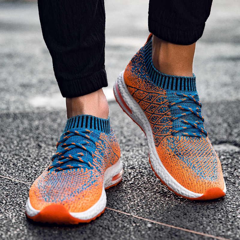 كوانزيزوان الرجال حذاء خفيف تنفس شبكة حذاء رياضة الانزلاق على الذكور الأحذية الانزلاق على المشي للجنسين أحذية الأزواج Zapatos دي Hombre