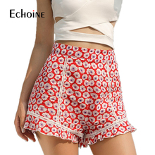 Summer Fashion printing Ruffle Shorts for Women 2019 New sexy street style Yellow Red Casual High Street spandex shorts