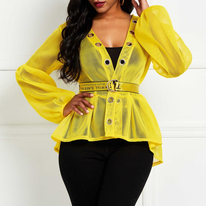 Summer Sexy Women   Blouse   Tops 2019 African Yellow Plus Size   Blouses     Shirt   Hipster Lantern Sleeve Lace Up Hollow feminine   blouses