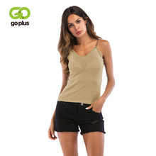 GOPLUS 2019 Spring Metal Strap Knitted Tank top Women Blouse Sexy V Neck Sleeveless Vest Casual streetwear Club Camis Female Top