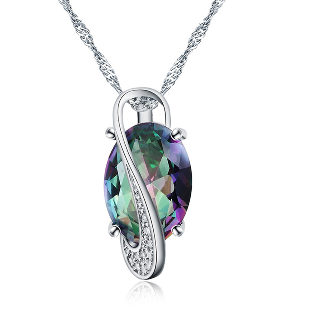 GINSTONELATE Charms wedding white gold color women necklace crystal jewelry fashion cute pendant necklace stone noble
