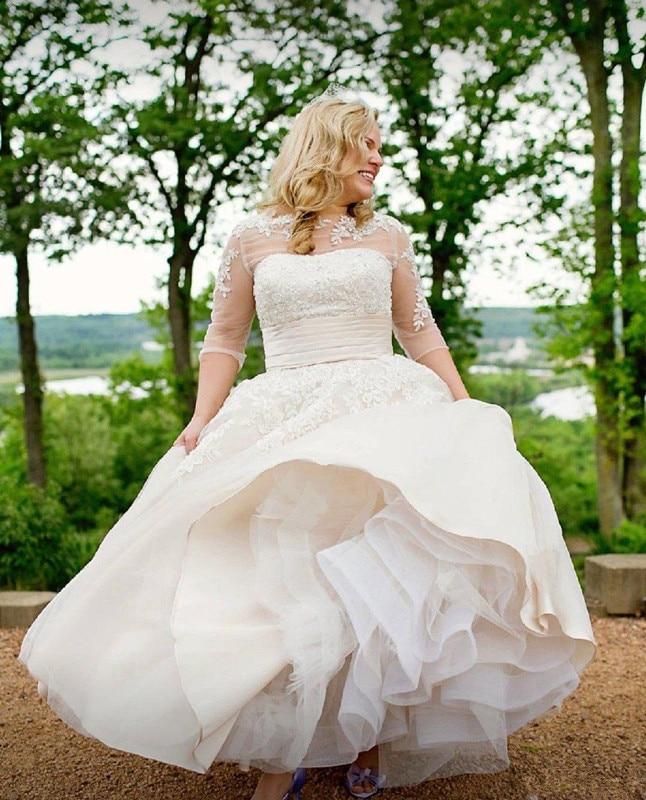 Plus Size Beige Wedding Dresses Sexy Sheer Neck 3/4 Sleeve ankle-length Lace Country Short Vestido De Novia