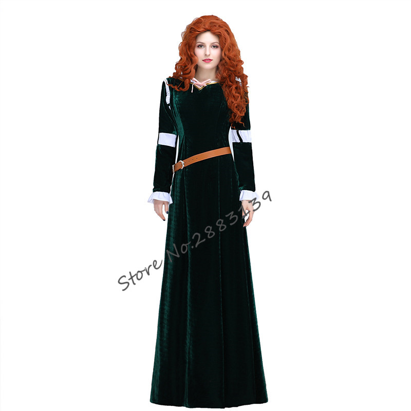 Movie Brave legend Princess Merida Cosplay Costume  Adult Female cosplay Dress Women Long Evening dress prom party dresses
