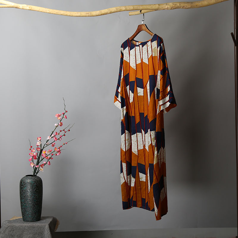 Vintage Women Ethnic Long Dress Colorful Striped 3/4 Batwing Sleeve Maxi Gown Female Loose Casual Robe Summer Boho Vacation Wear