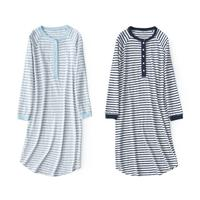 Long Sleeve Stripe Nightdress Women Nightgown Nightshirt Summer Loungewear Home Dress Cotton Sleepwear Casual Sleep Shirt