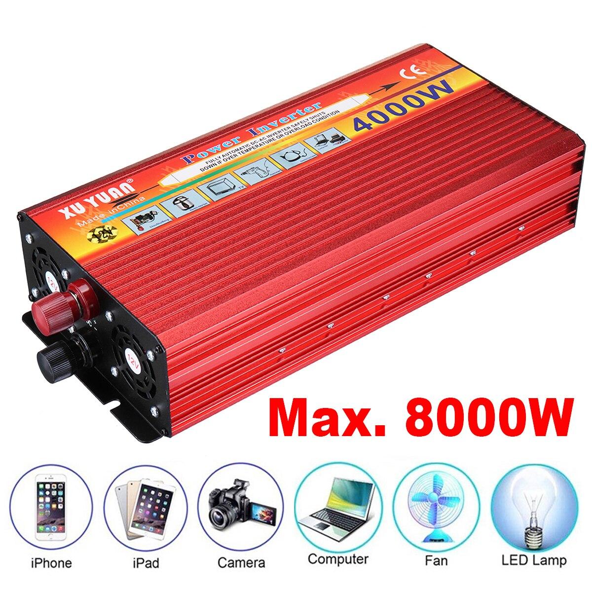 4000W Inverter Converter Portable Aotomatic Max Power Switch Sine Wave Car Charger DC 12V To110V 240V AC USB Vehicle Transformer