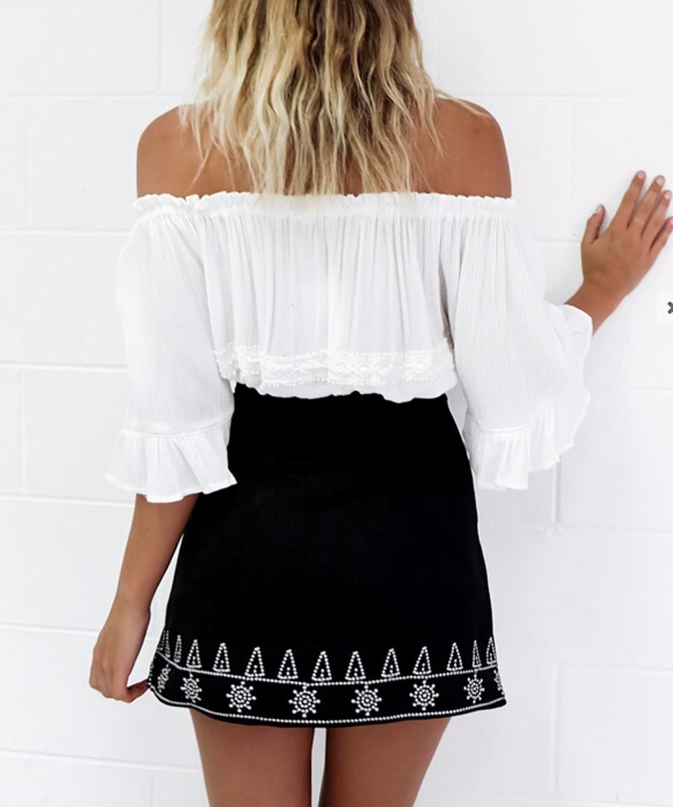 HTB1ZvCyNpXXXXX3XXXXq6xXFXXXt - FREE SHIPPING  Embroidery Suede A-line Skirt Black Brown Mini Skirts JKP350