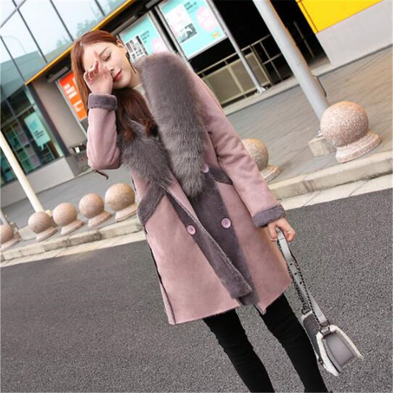 2019 Women Large Fur Collar   Leather   Coat Autumn Fashion Casual Lamb Wool Coats Faux Fur   Suede   Long Thicken Warm Jacket A4035