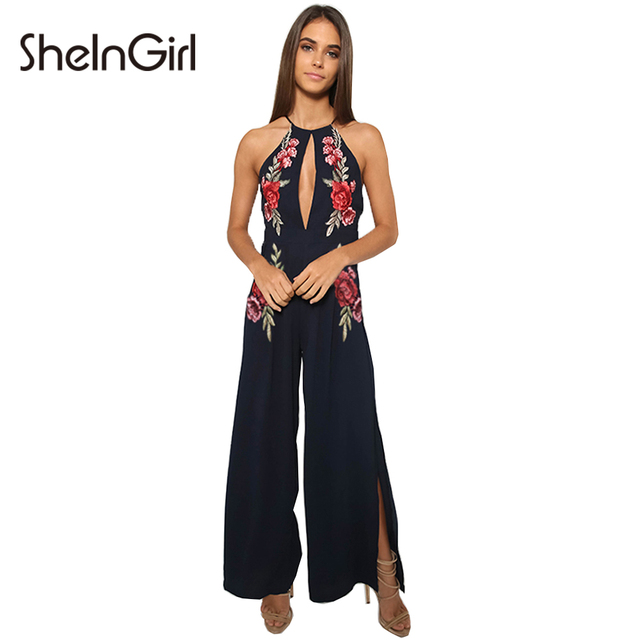 SheInGirl women jumpsuit romper Sexy floral Embroidery Mesh elegant jumpsuit Cut Out Cross Back Long Overalls women