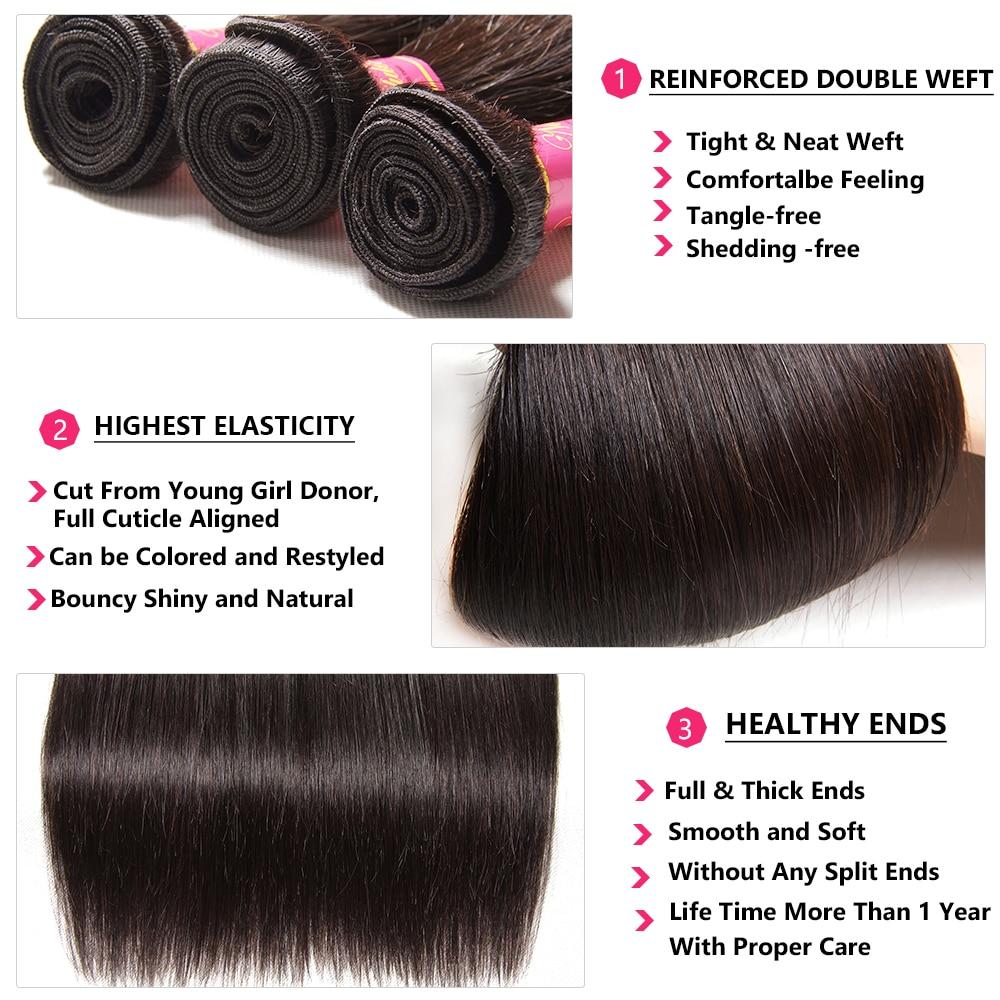 Nadula Hair 3 Bundles With 2Pcs Closures  Straight Hair Bundles With Closure 100%  Bundles With Closure 6