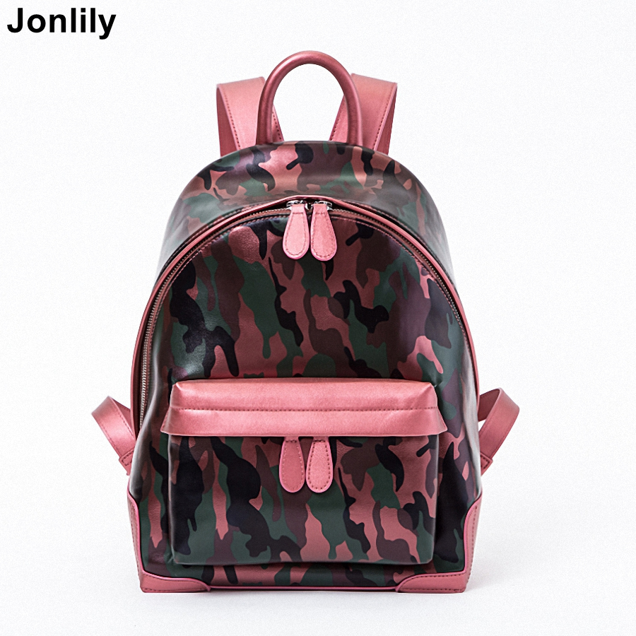 Jonlily Women Teenage Girls Zipper School Backpack Fashion Camouflage Shoulder Bag Female Travel Bags For Teenagers -KG057 tegaote new design women backpack bags fashion mini bag with monkey chain nylon school bag for teenage girls women shoulder bags