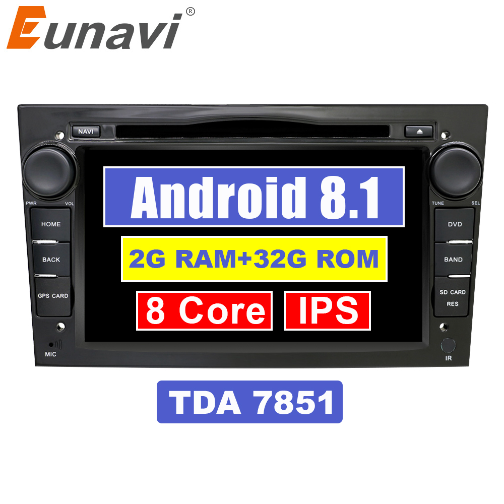 Eunavi 2 Din Octa Core 7 inch Android 8.1 Car DVD Radio Player GPS Navi For Opel Astra Vectra Antara Zafira Corsa Wifi Bluetooth