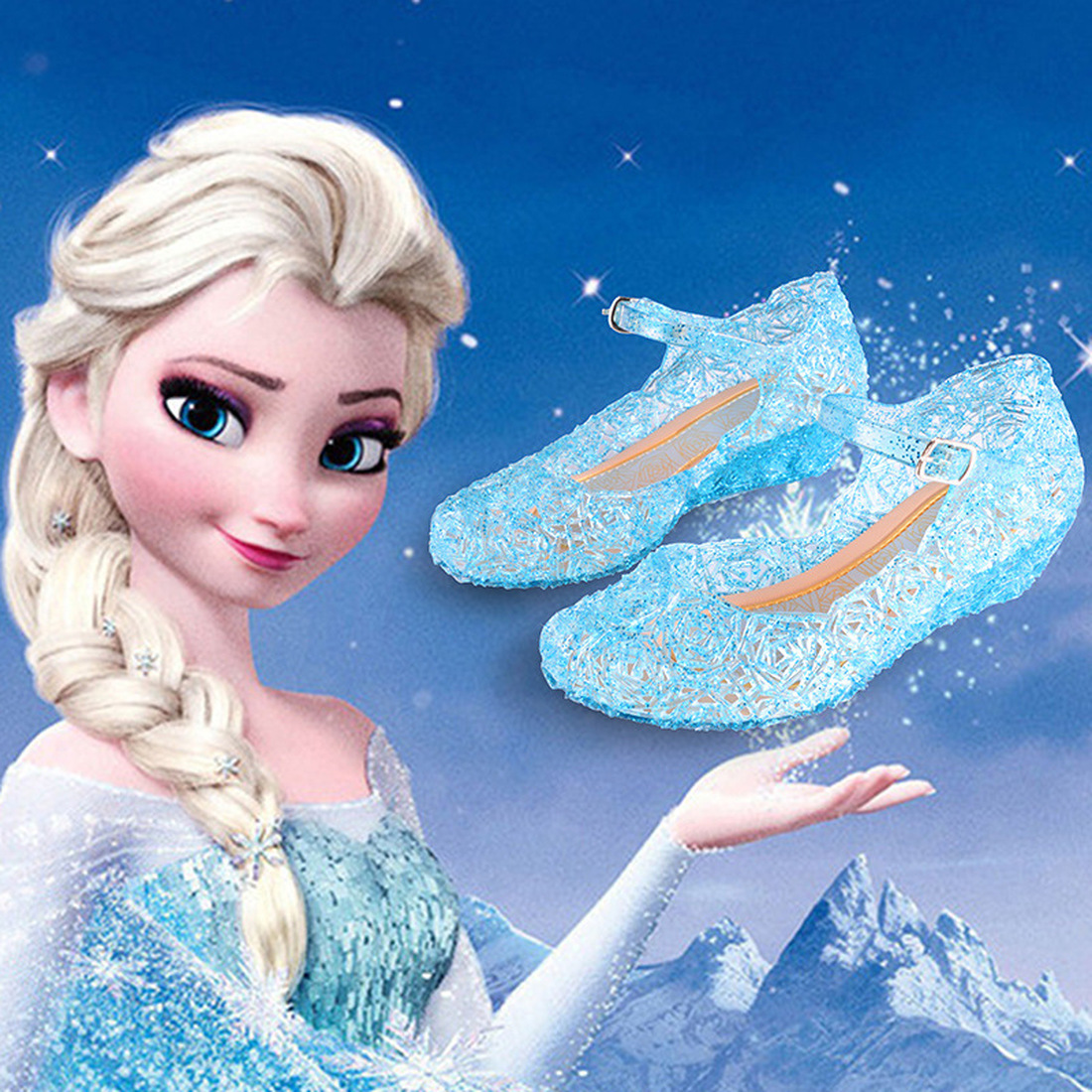 Girl Sandals Summer Queen Elsa Princess Crystal Shoes Frozen Kids Mules&Clogs Transparent Plastic Beach Shoes Sofia Kids Sandals