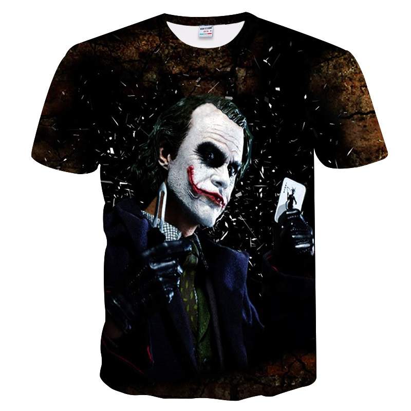 2018 Batman Joker 3d t shirt funny face character joker Brand clothing 3d t-shirt summer style tees Badass top print