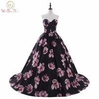 Luxury Evening Dresses vestido longo festa Dress Formal Arabic Evening Gowns Strapless Sweetheart Ball Gown Print Prom Dresses