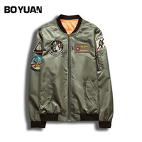 BOYUAN Mens Bomber Jackets 2018 Spring Autumn Mens Jackets And Coats Badge Patchwork Design Mens Clothing