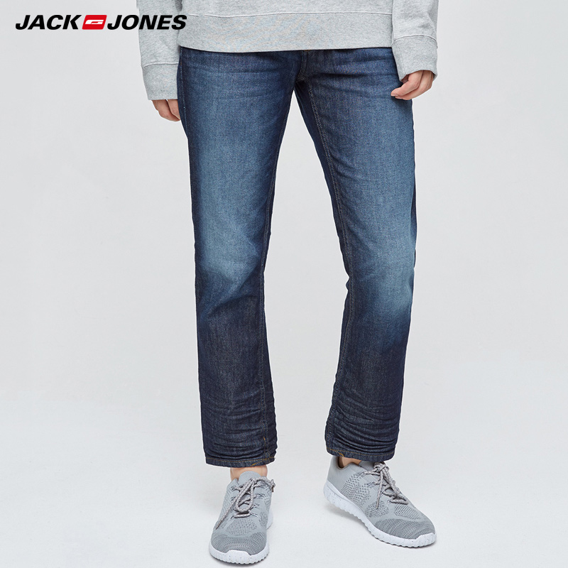 Jack & Jones  NEW Denim Slim Plaid Pencil Pants Full Length Jeans Men Smart Punk Style Fashion Jeans |217132558