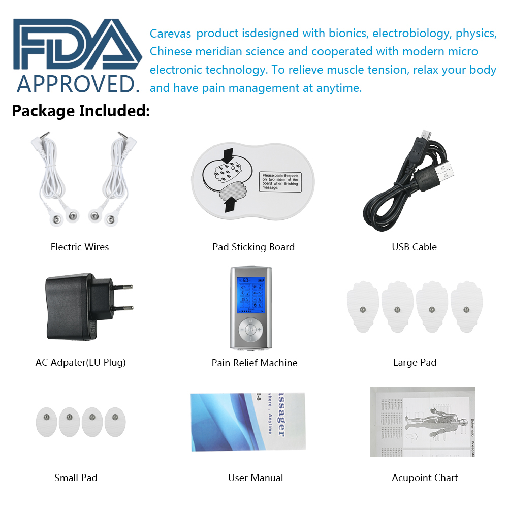 Image 4 - Carevas Massager Rechargeable Electric Pain Relief Machine 8 Modes Tens Unit Portable Pulse Massager Muscle Stimulator Therapy-in Massage & Relaxation from Beauty & Health