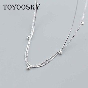 0aada362822d Plata de Ley 925 Simple doble capa colgante collar joyería serpiente hueso  cadena temperamento personalidad bola cuentas cadena