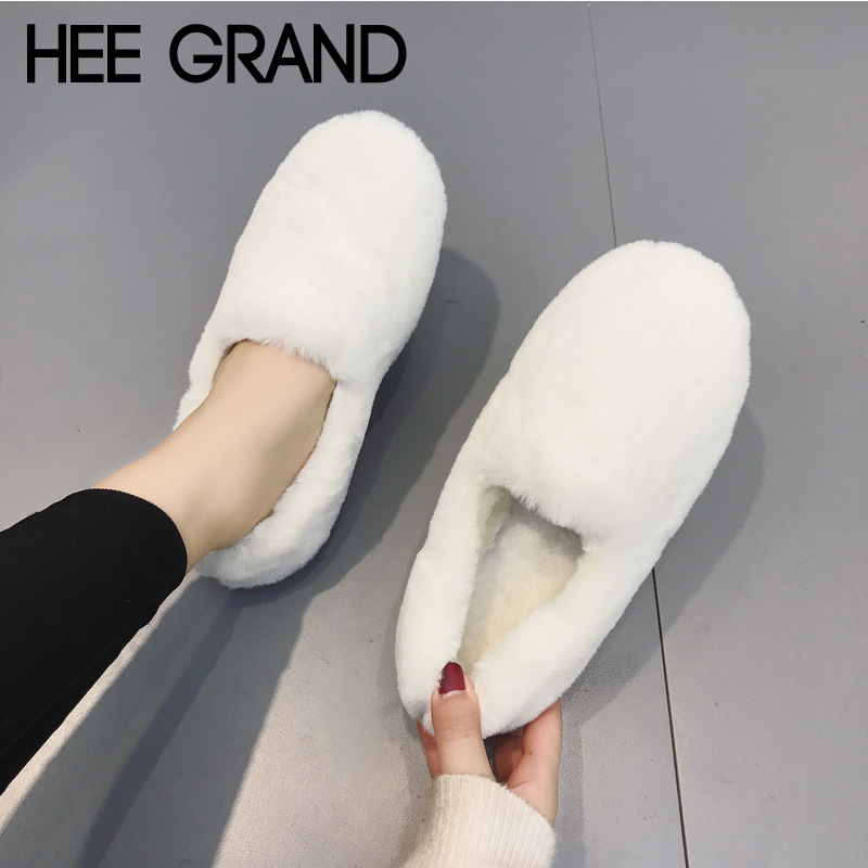 HEE GRAND Winter Warm Creepers Slip On Platform Loafers Casual Shoes Woman Round Toe Shallow Flats 5 Colors Size 35-40 XWD7046 hee grand hemp loafers 2018 embroider fisherman shoes woman straw slip on casual flats platform women shoes size 35 41 xwd6317