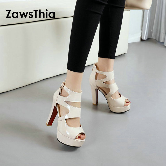d09ccff8664 ZawsThia 2019 patent PU leather white girls spike high heels platform peep  toes summer woman shoes