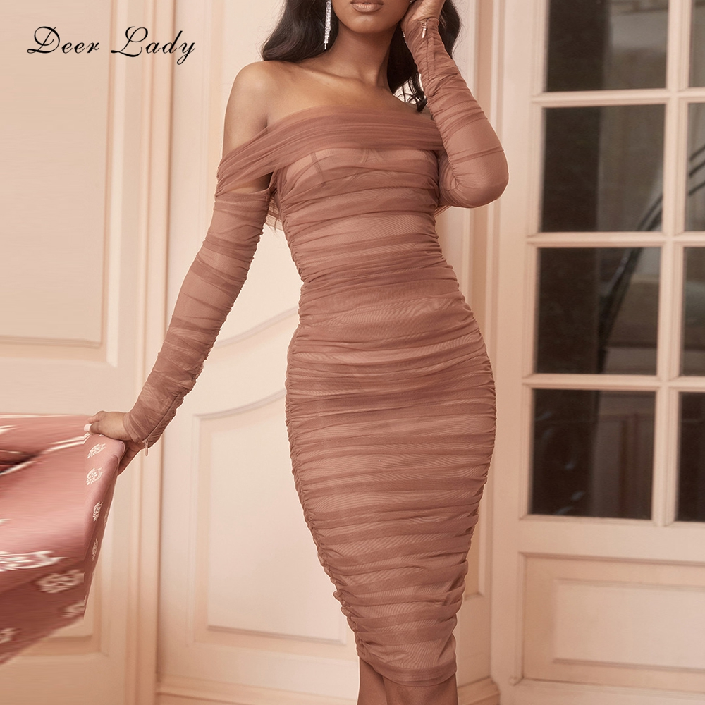 Deer Lady Summer Party Dress Women 2019 Sexy Mesh Bodycon Dress Long Sleeve Off Shoulder Sheer Ruched Celebrity Club Dress 1