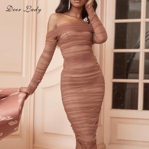 Image 1 - Deer Dame Sommer Party Kleid Frauen 2019 Sexy Mesh Bodycon Kleid Langarm Off Schulter Sheer Rüschen Celebrity Club Kleid
