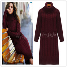 2016 new autumn winter fashion turtleneck sweater dress kintted long pullover sweater women robe pull vetement