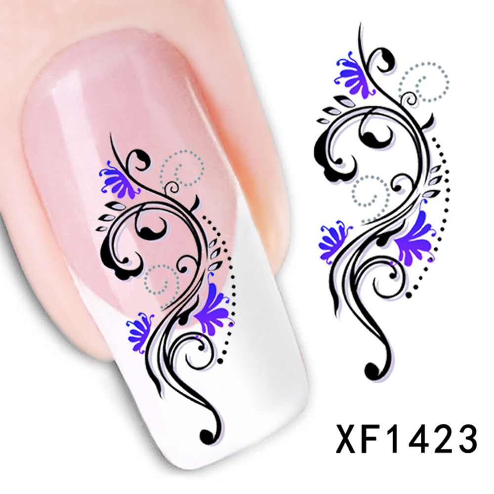 Stickers decals nail stickers nail art decals fashion - Nail Sticker Water Transfer Nail Stickers Decals Nail Art Decoration Blue Purple Red Flowers Pattern Fashion 6 3x 5 2cm 1 Sheet In Stickers Decals From