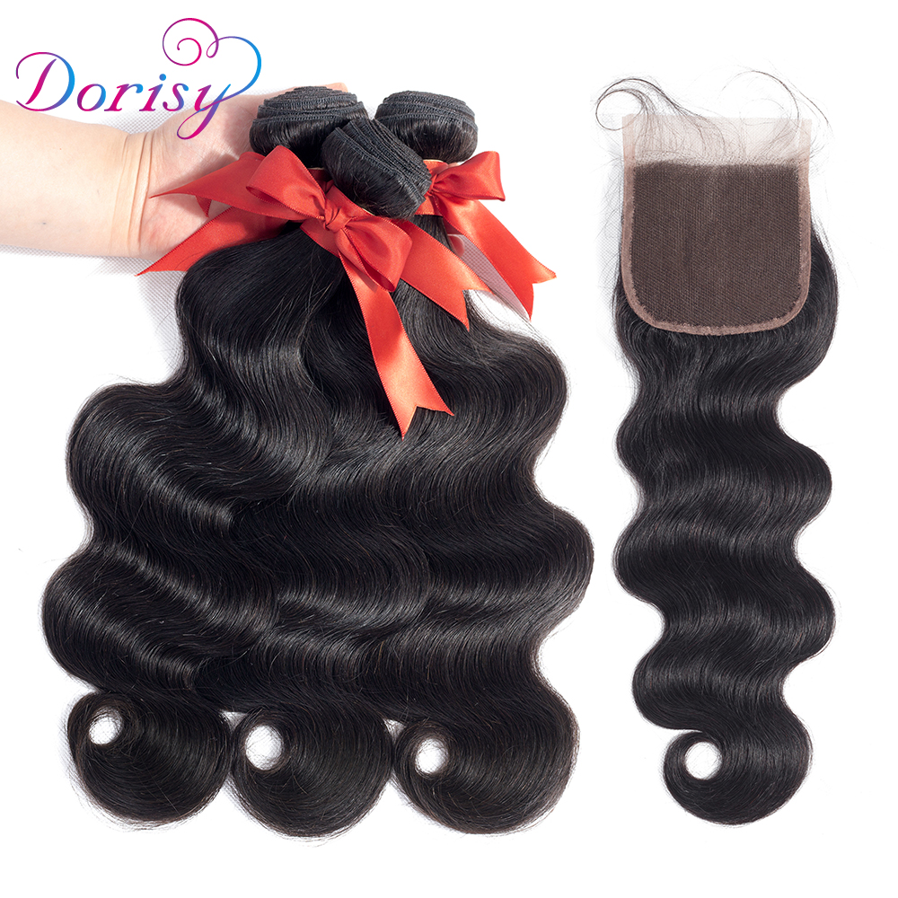 Dorisy Body Wave Bundles with Closure Peruvian Hair Weave Bundles with Closure Non Remy Human Hair 3 Bundles with Closure