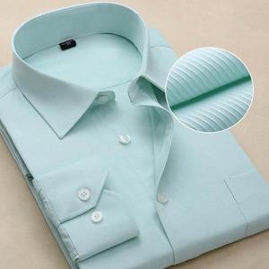 Image 5 - Chemise à manches longues pour hommes, blanche et formelle, cintrée, rayures solides, grande taille