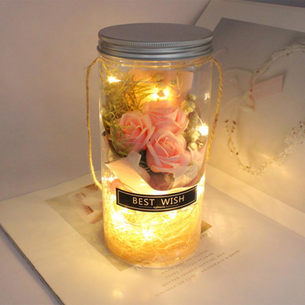 Led Night Light Rose In Glass Wishing Bottle Night Lamp Decor For Valentine's Day Wedding Gift