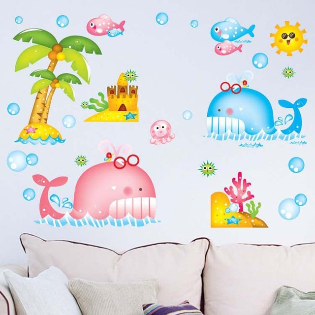 1 set Cartoon Sea World Removable Wall Sticker DIY Home Decoration ...